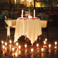 Candle lit dinner table for two