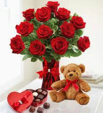 Valentine flowers, chocolate and teddy bear