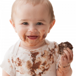 interesting ideas for april - child covered in chocolate holding a brownie